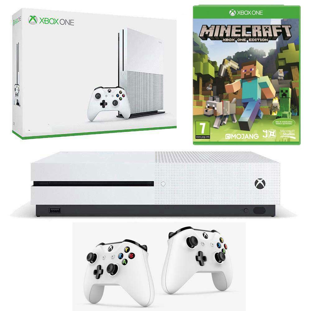 Xbox One S + 2 pady + Minecraft